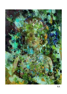 Green Vintage Pop Art Portrait Dripping