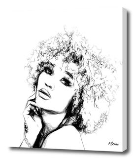 Black Woman Portrait Minimal Drawing