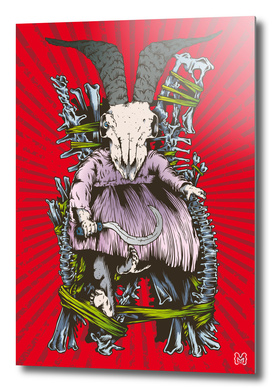 Evil goat skull baby on bones throne