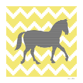Horse - geometric pattern - gold and white