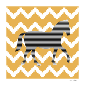 Horse - geometric pattern - bronze and white