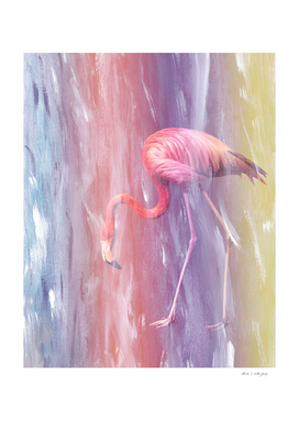 Flamingo in the Colored Rain #1 #tropical #decor #art