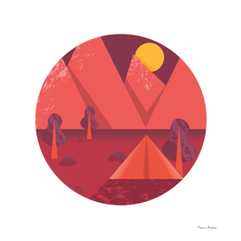 Vector poster with a mountain landscape and a tent.