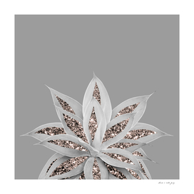 Gray Agave with Rose Gold Glitter #1 #shiny #tropical #decor