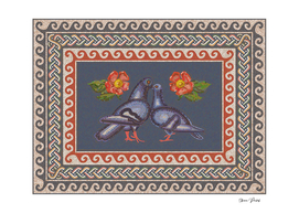 Romantic Couple of Pigeons in Roman Mosaic Style
