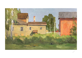 Landscape with building and the cat (oil painting)