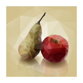 Polygonal mosaic fruits - apple and pear