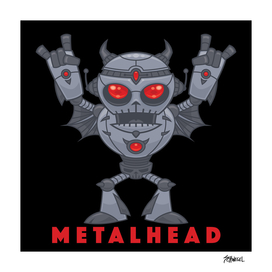 Metalhead - Heavy Metal Robot Devil - With Text