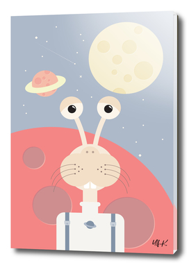 Cute Monster In Space • Colorful Illustration