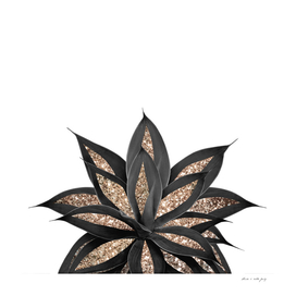 Gray Black Agave with Gold Glitter #2 #shiny #tropical