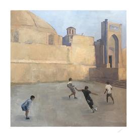 Football players at Samarkand (oil painting)