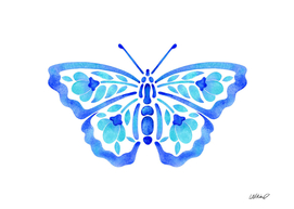 Blue Floral Butterfly Watercolor