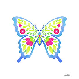 Colorful Floral Butterfly Watercolor