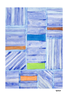 Blue Panels with Colorful Inlays