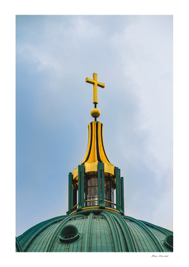 Berlin Cathedral. Close up of the cross on the top of