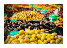 Olives at a market stall