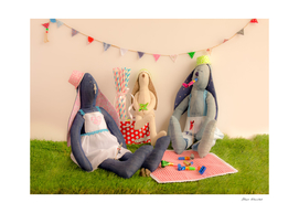 Handmade cloth rabbit dolls in party concept