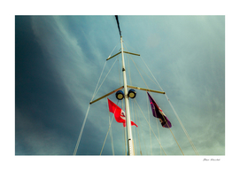 Low angle view of yacht sails