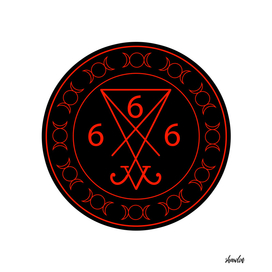 666- with the sigil of Lucifer symbol