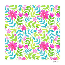 Pink Floral Pattern Watercolor