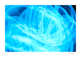 Chaos blue glowing abstract curved lines