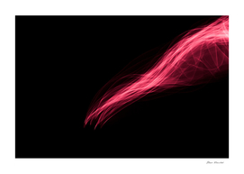 Glowing abstract curved light red and pink lines