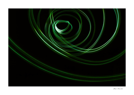 Glowing abstract curved green lines