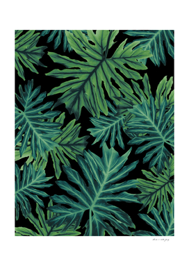 Philo Hope - Tropical Jungle Night Leaves Pattern #1
