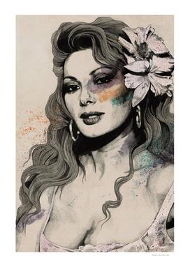 Edwige (street art sexy portrait of Edwige Fenech)