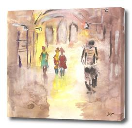 city sketch people