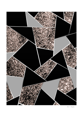 Rose Gold Geometric Glitter Glam #1 #geo #decor #art