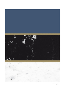 Marble Mix Stripes #3 #black #white #blue #gold #decor #art