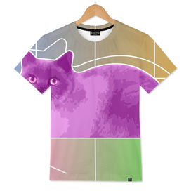 Neon Purple Cat On Colorful Background