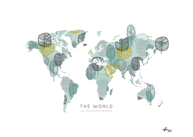 Worldmap Retro Autumn Leaves