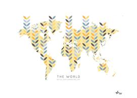 Worldmap Retro Scandinavian Leaves
