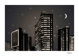 Cityscape Night Scene Illustration