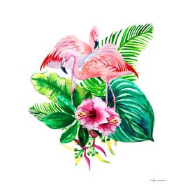 set flamingo leaves tropical