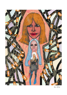 Pop Art Portrait of Donatella Versace
