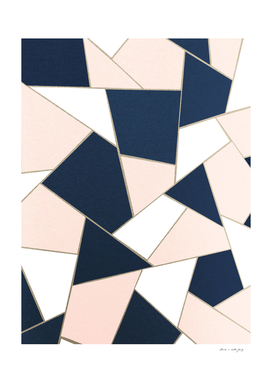 Navy Blue Blush White Gold Geometric Glam #1 #geo #decor