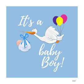 It's A Baby Boy On Blue