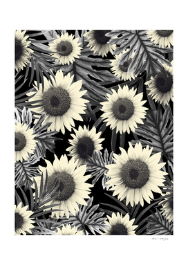 Tropical Sunflower Jungle Night Leaves Pattern #2 #tropical