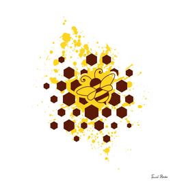 Bee, honeycombs and yellow splash