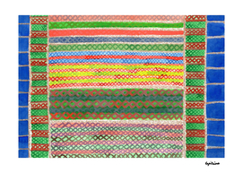 Colorful Stitches on Horizontal Colorful Stripes
