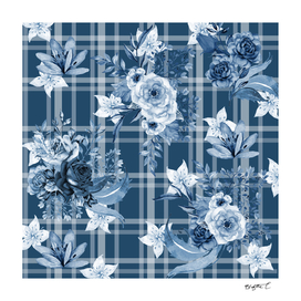 Elegant Blue Floral Plaid