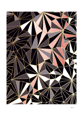 Stylish Art Deco Geometric Pattern - Black, Coral & Gold