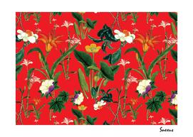 vintage floral red