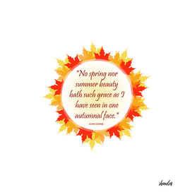 Inspirational quote inside autumn leaves