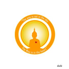 Buddha silhouette inside a bright sun.