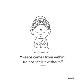 Little Buddha with motivational quote.