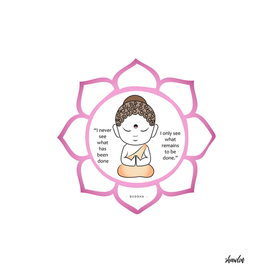 Cute Buddha inside a sacred lotus with inspirational quote.